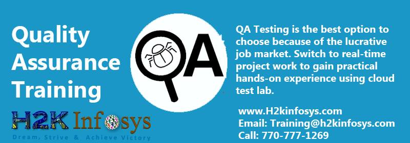 QA Training from H2K Infosys the leading provider